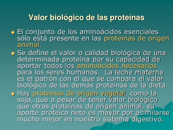 Valor biológico de las proteínas