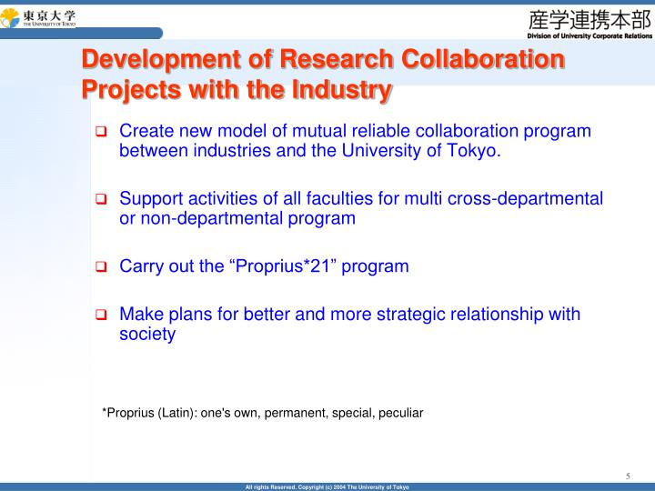 Development of Research Collaboration Projects with the Industry