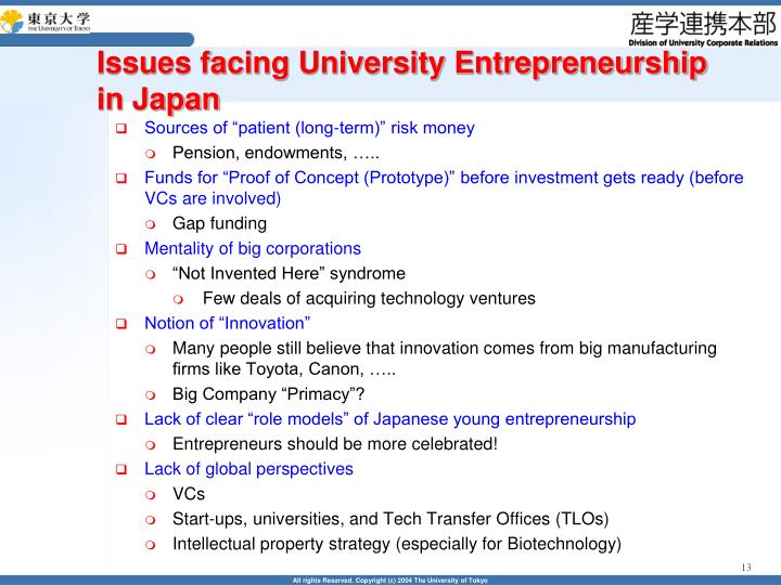 Issues facing University Entrepreneurship in Japan
