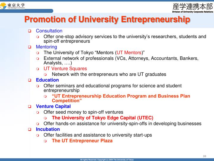 Promotion of University Entrepreneurship
