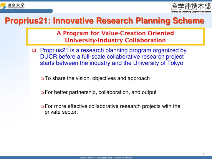 Proprius21: Innovative Research Planning Scheme
