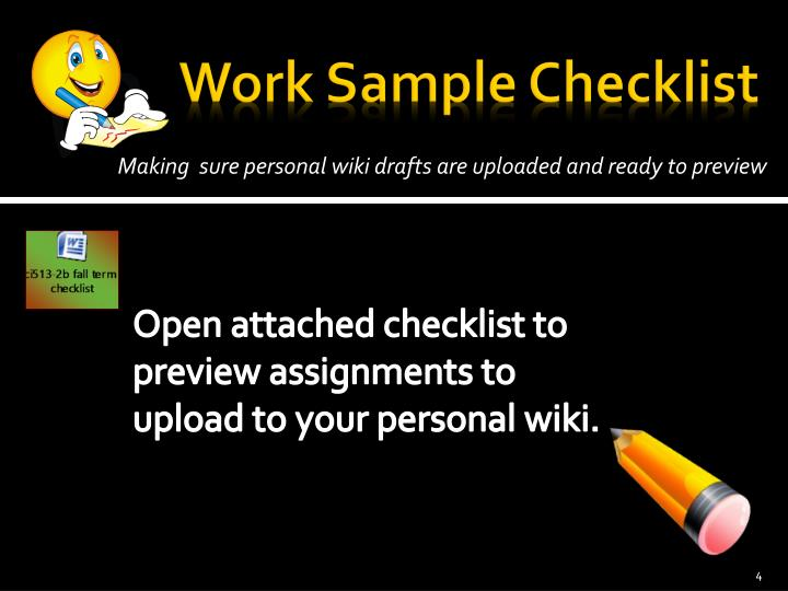 Work Sample Checklist