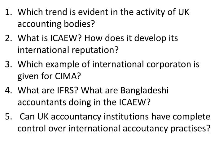 Which trend is evident in the activity of UK accounting bodies?