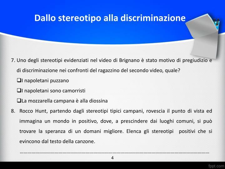 Dallo stereotipo alla discriminazione