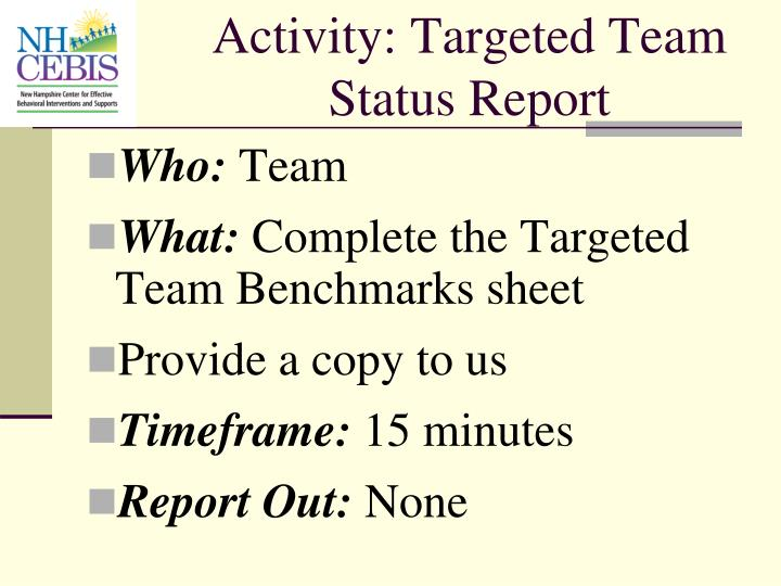 Activity: Targeted Team Status Report