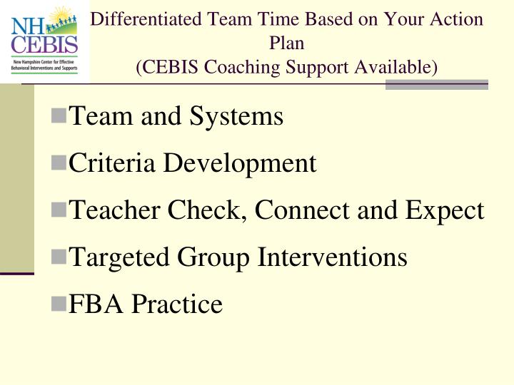 Differentiated Team Time Based on Your Action Plan