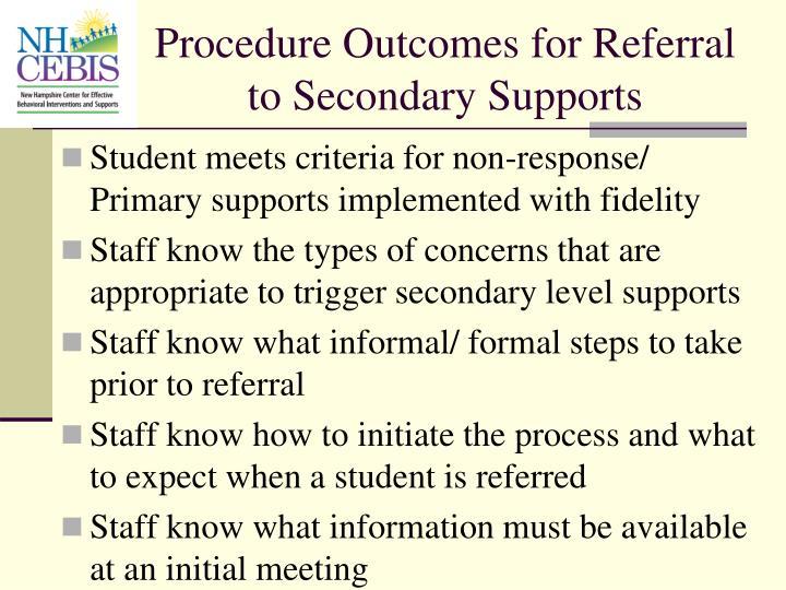 Procedure Outcomes for Referral