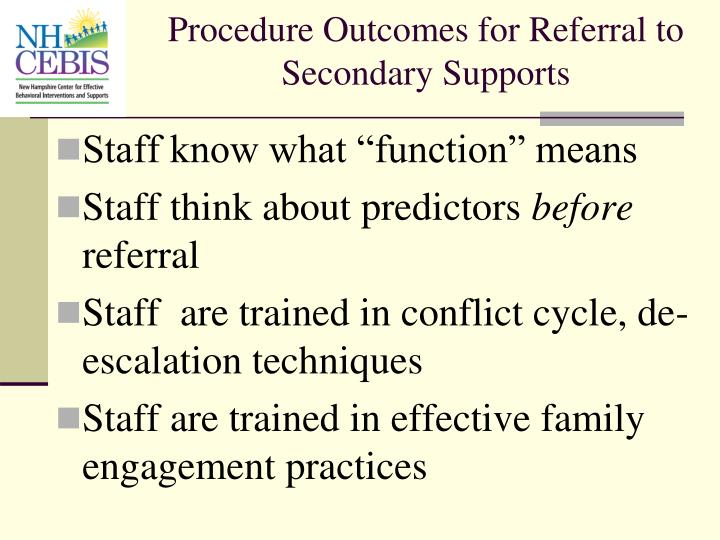 Procedure Outcomes for Referral to Secondary Supports