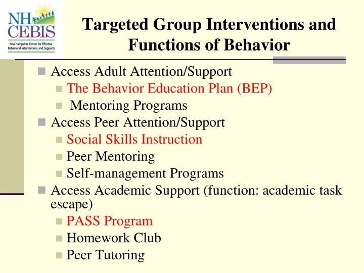 Targeted Group Interventions and Functions of Behavior