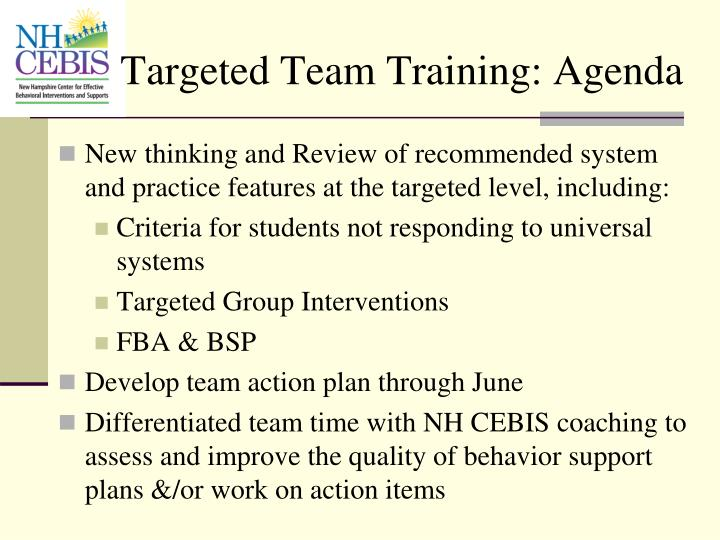 Targeted Team Training: Agenda