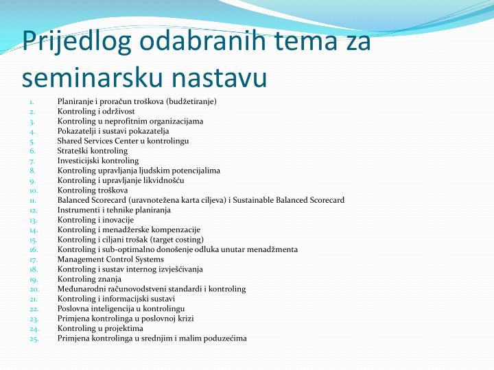 Prijedlog odabranih tema za seminarsku nastavu