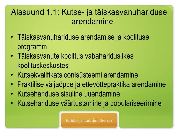 Alasuund 1.1: Kutse- ja täiskasvanuhariduse arendamine