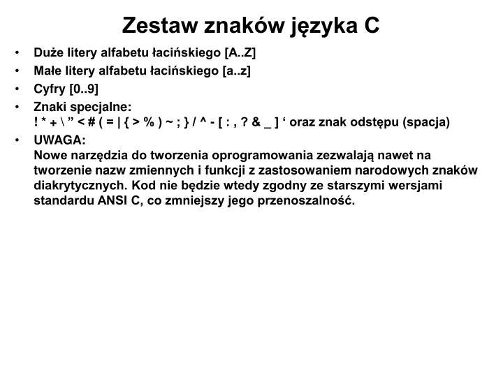 Zestaw znaków języka C