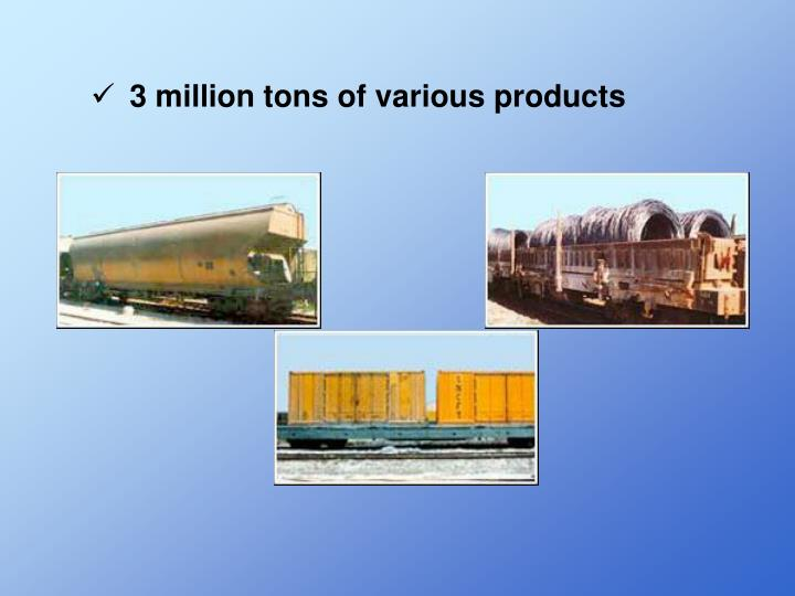 3 million tons of various products