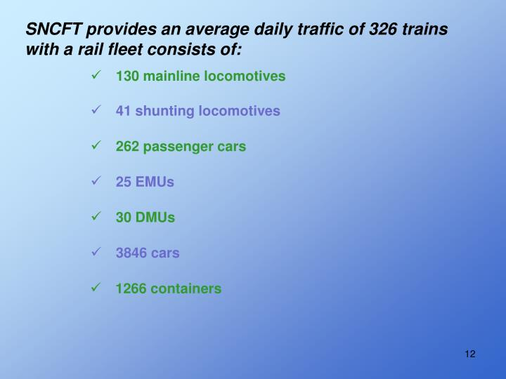 SNCFT provides an average daily traffic of 326 trains with a rail fleet consists of: