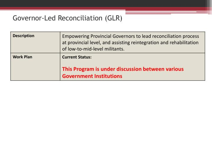 Governor-Led Reconciliation (GLR)