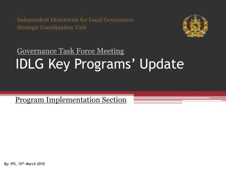 Idlg key programs update