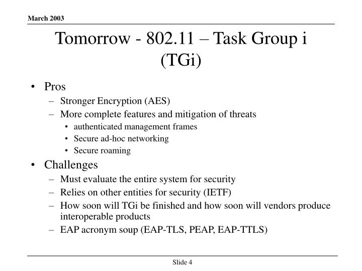 Tomorrow - 802.11 – Task Group i  (TGi)