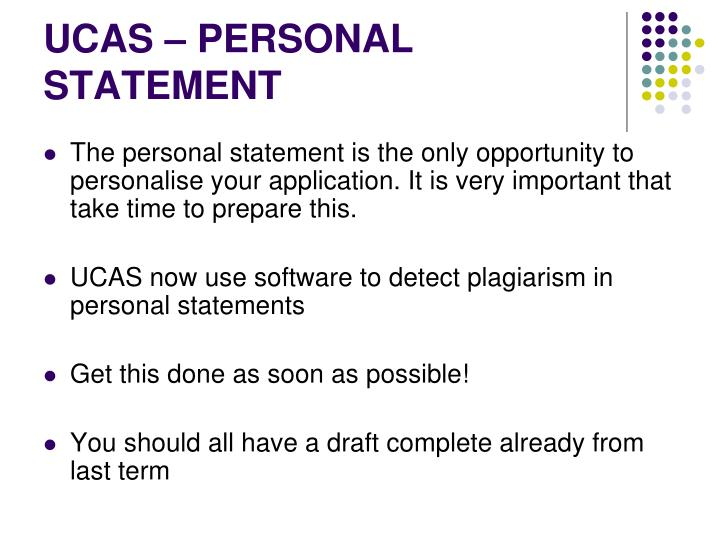 UCAS – PERSONAL STATEMENT