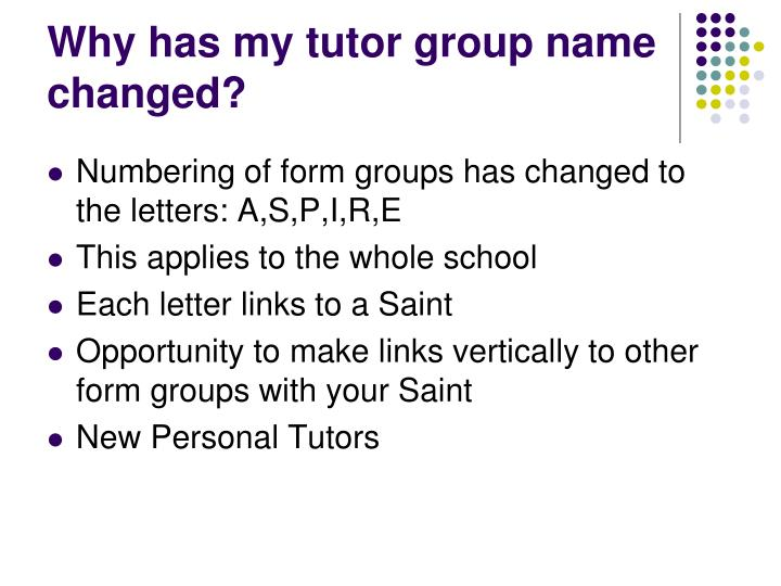 Why has my tutor group name changed?