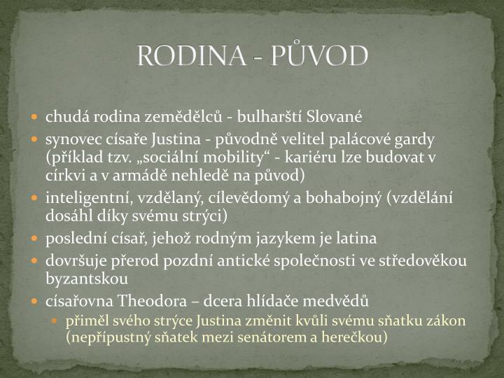 RODINA - PŮVOD
