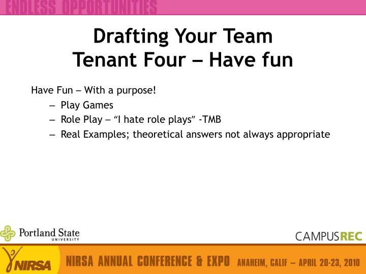 Drafting Your Team