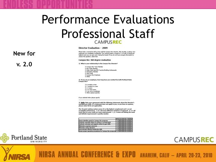 Performance Evaluations Professional Staff