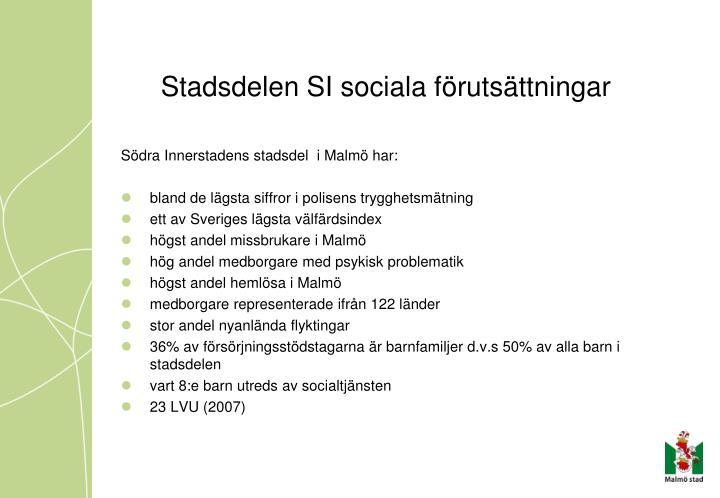 Stadsdelen SI sociala förutsättningar