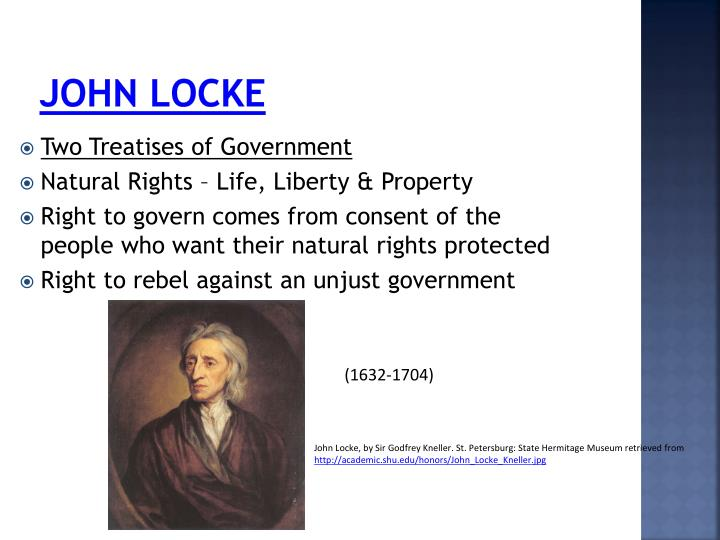 "john lockes view on the right of property John locke's private property for the fair criterion of possessing a property john locke who was a famous english his private right"" (locke."