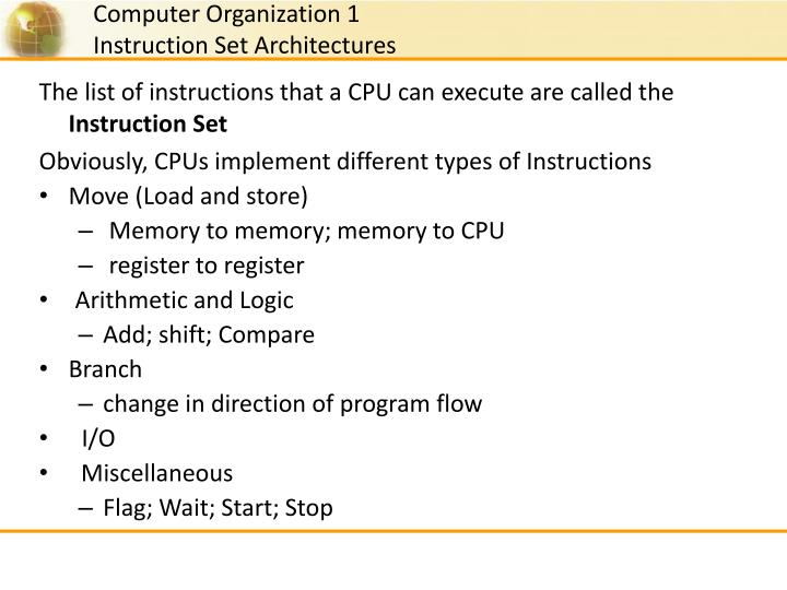 The list of instructions that a CPU can execute are called the
