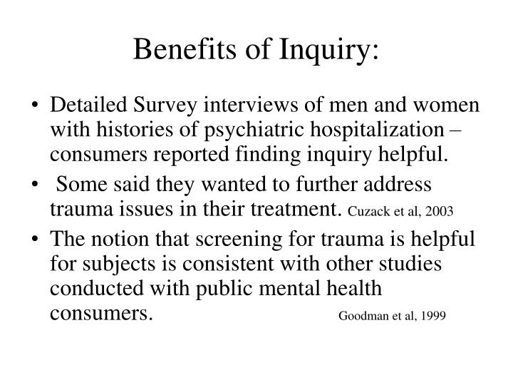 Benefits of Inquiry: