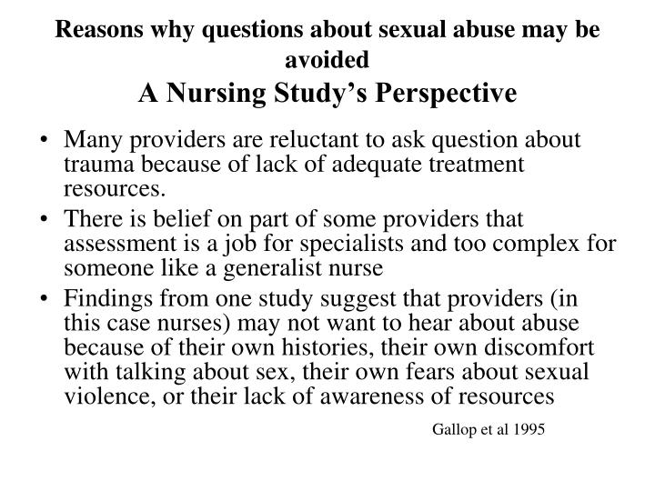 Reasons why questions about sexual abuse may be avoided