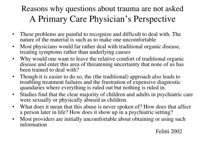 Reasons why questions about trauma are not asked