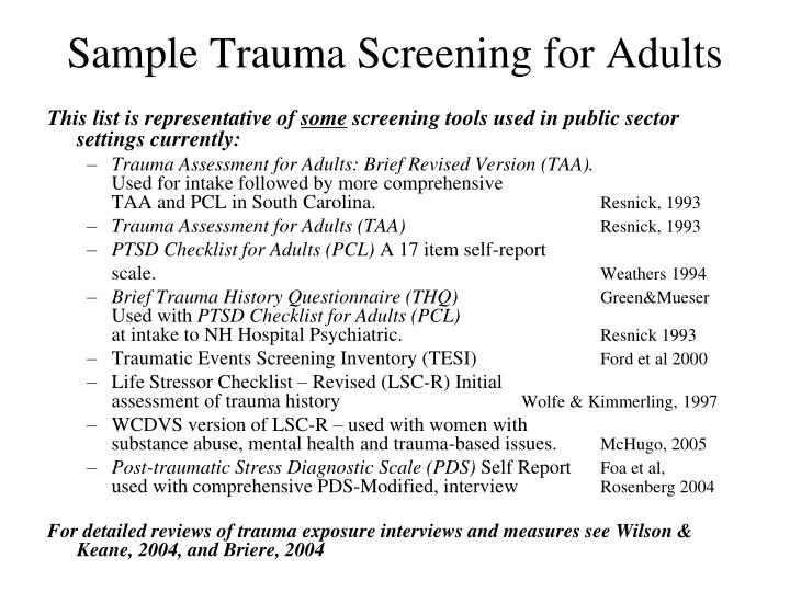 Sample Trauma Screening for Adults