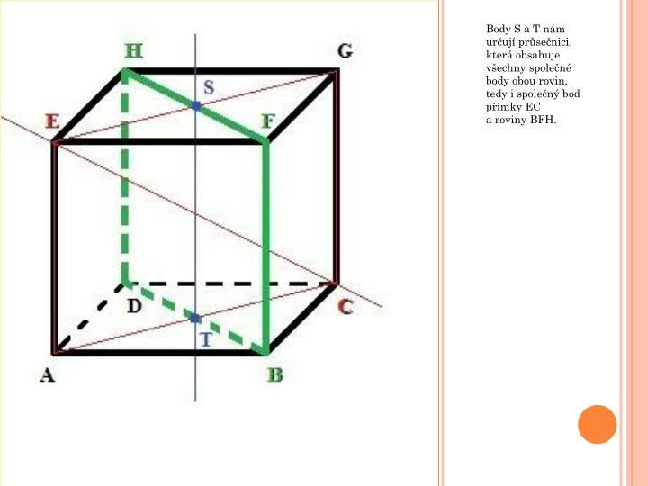 Body S a T nám určují průsečnici, která obsahuje všechny společné body obou rovin, tedy i společný bod přímky EC