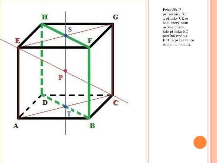 Průsečík P průsečnice ST