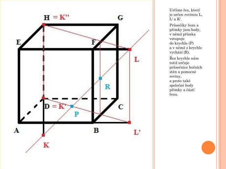 Určíme řez, který je určen rovinou L,