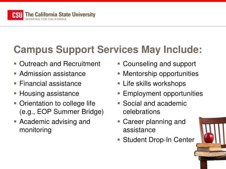 Campus Support Services May Include: