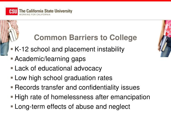 Common Barriers to College
