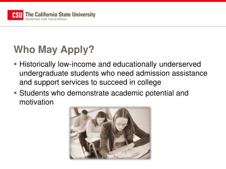 Who May Apply?
