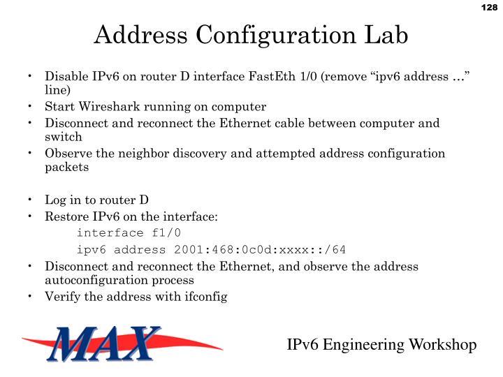 Address Configuration Lab