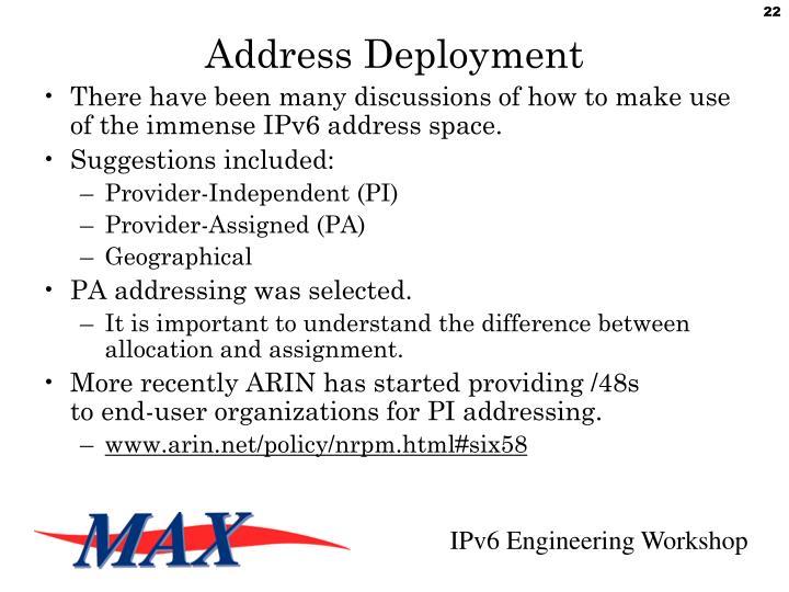 Address Deployment