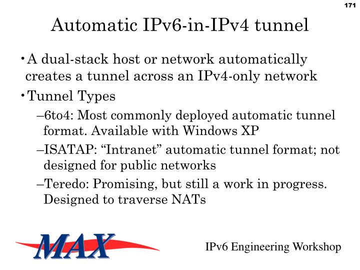 Automatic IPv6-in-IPv4 tunnel