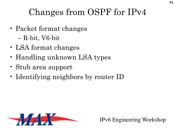 Changes from OSPF for IPv4