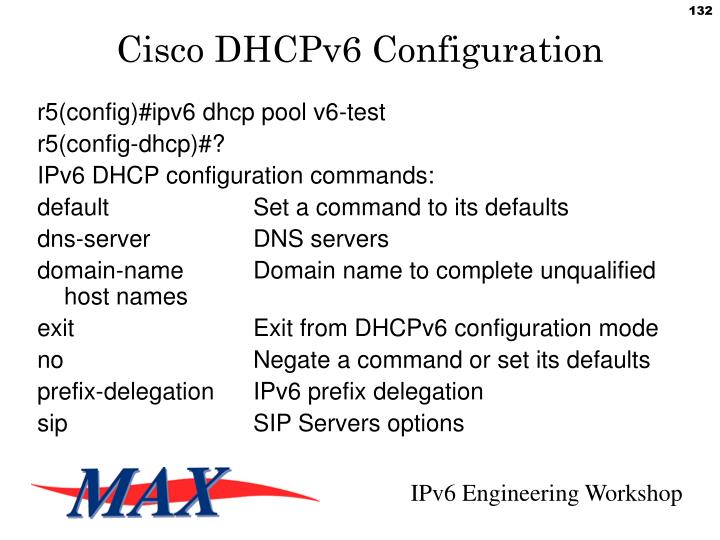 Cisco DHCPv6 Configuration