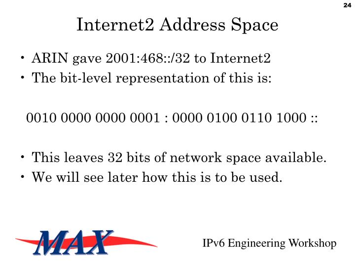 Internet2 Address Space