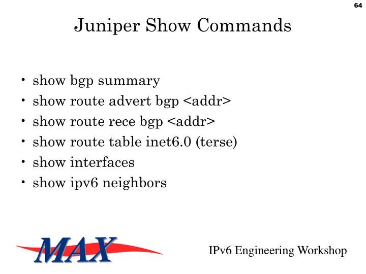 Juniper Show Commands