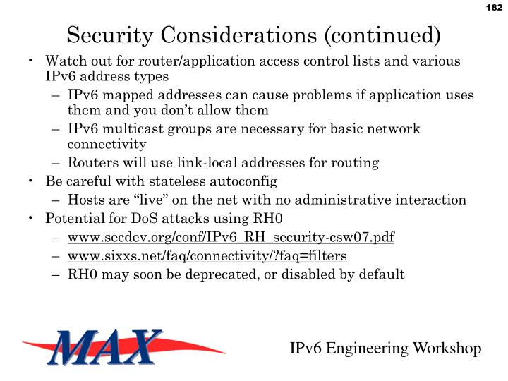 Security Considerations (continued)