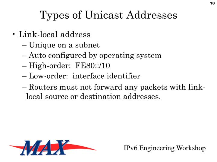 Types of Unicast Addresses