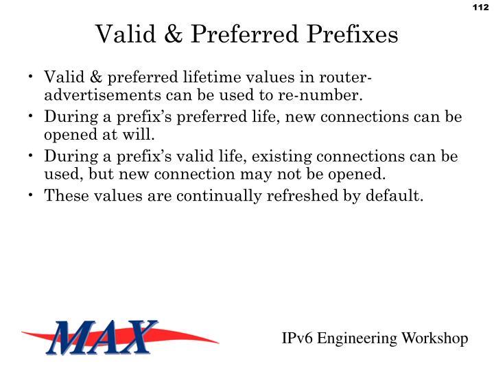 Valid & Preferred Prefixes